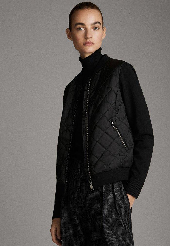 Massimo Dutti - MIT STRICKDETAILS - Bomber Jacket - black