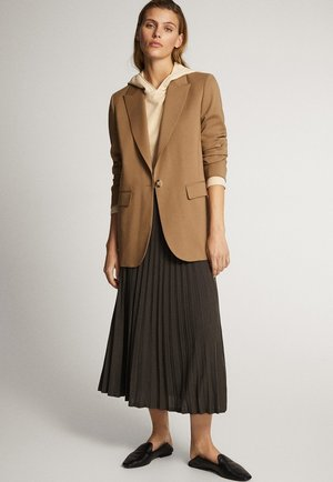 LONG WOOL BLAZER 06008580 - Halflange jas - brown