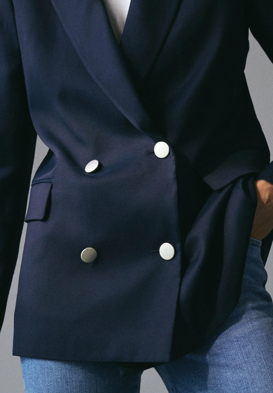 Massimo Dutti Mit Goldfarbenen Knöpfen - Blazer Blue-black Denim