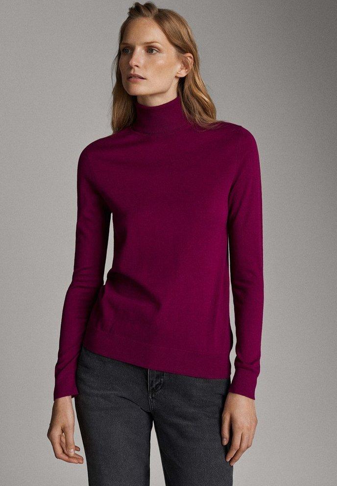 Massimo Dutti - UNIFARBENER PULLOVER AUS SEIDE WOLLE 05600520 - Pullover - dark purple