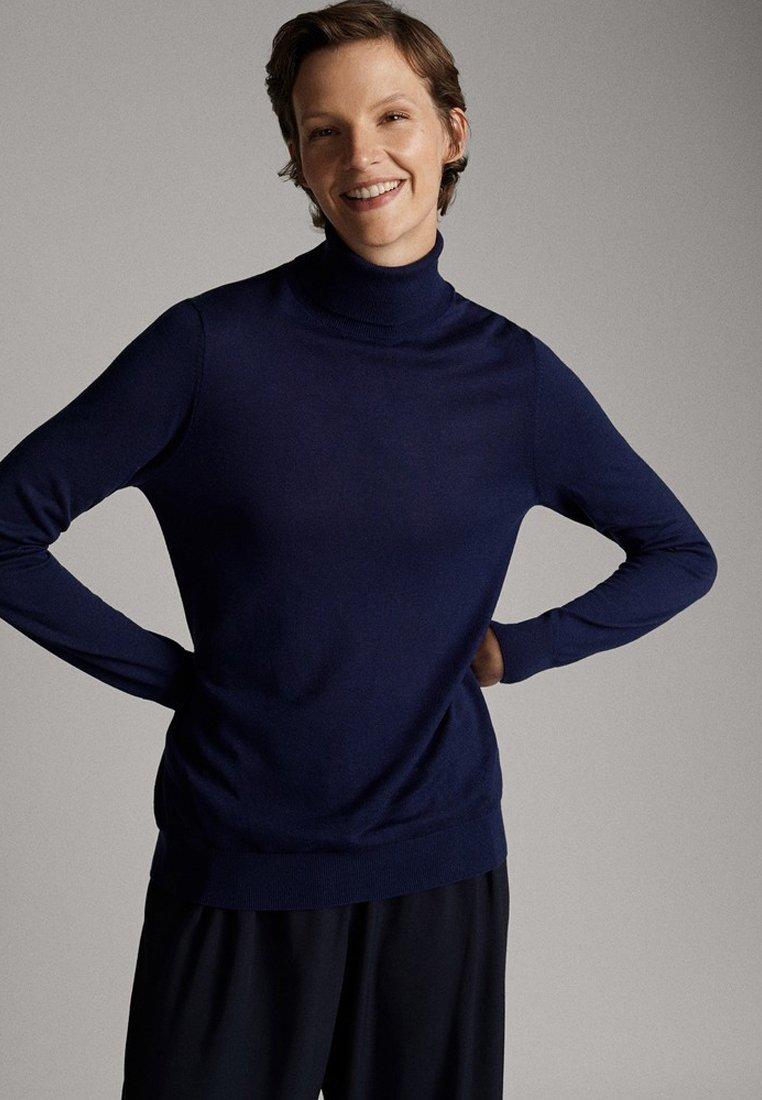 Massimo Dutti - UNIFARBENER PULLOVER AUS SEIDE WOLLE 05600520 - Pullover - dark blue