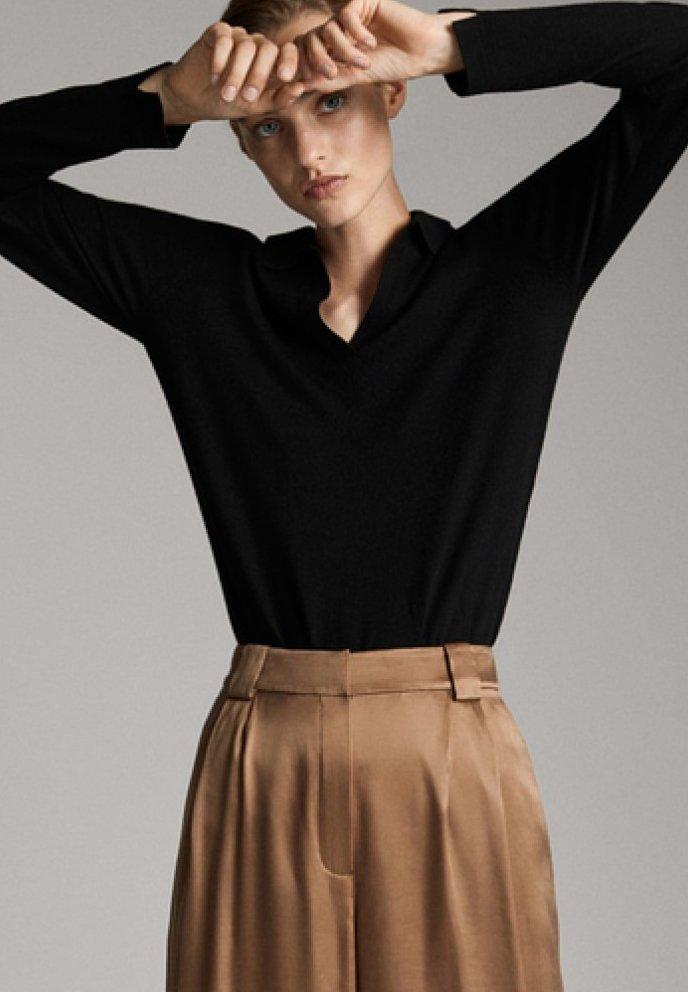 Massimo Dutti - MIT OFFENEM KRAGEN - Poloshirt - black