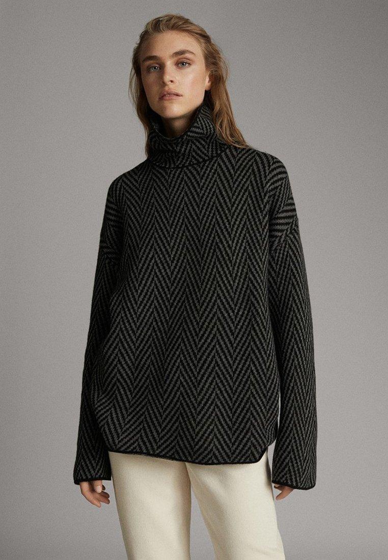 Massimo Dutti - MIT STEHKRAGEN - Pullover - black
