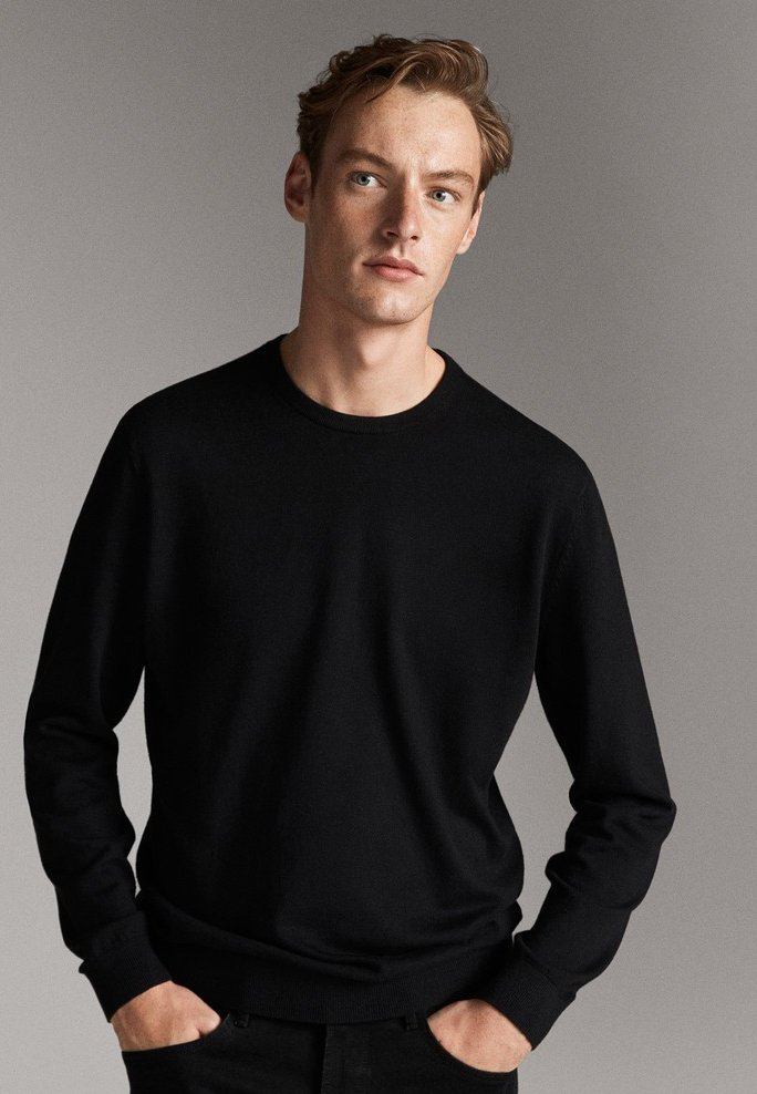 Massimo Dutti - MIT STRUKTURMUSTER - Pullover - black