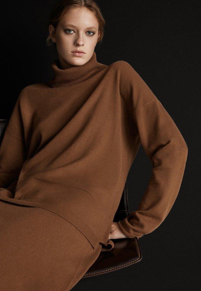 Massimo Dutti - MIT ROLLKRAGEN  - Jumper - brown