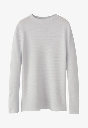 MIT GERIPPTEM STEHKRAGEN - Pullover - light grey