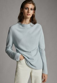 Massimo Dutti - MIT GERIPPTEM STEHKRAGEN - Jumper - light grey - 0