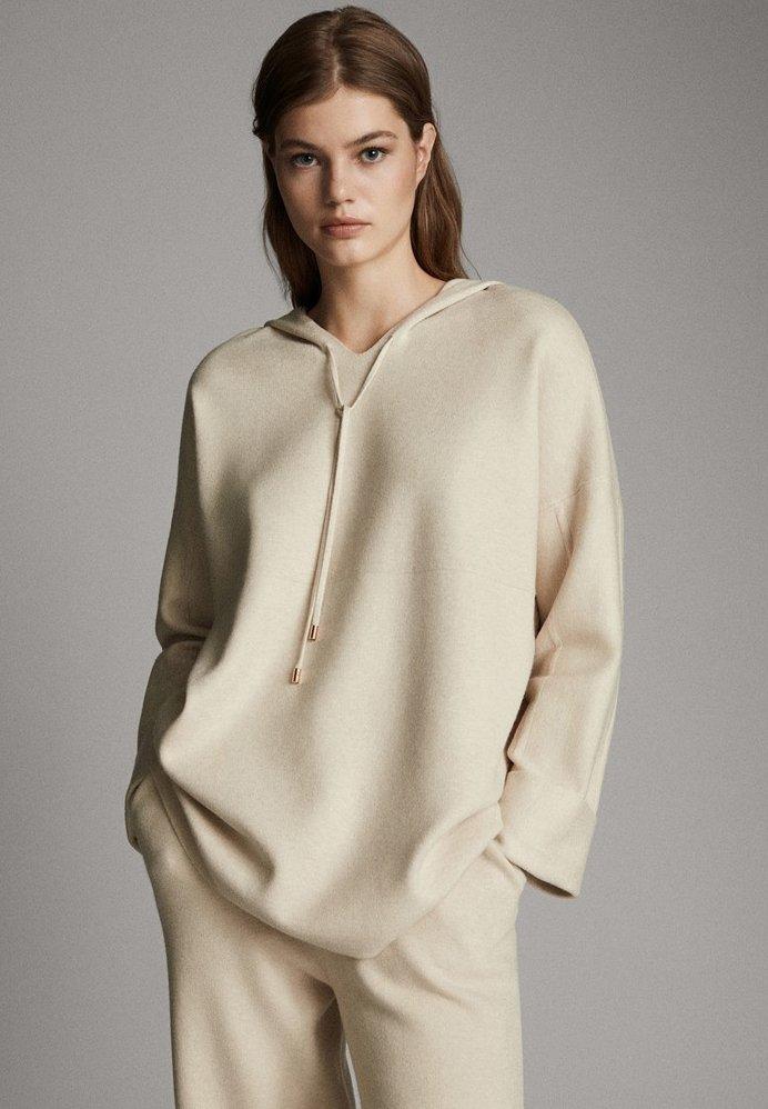 Massimo Dutti - STRICK-CAPE MIT KAPUZE 05623807 - Sweater - beige