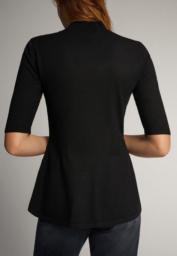 Massimo Dutti - PULLOVER MIT GERIPPTEM STEHKRAGEN UND SCHÖSSCHEN 05623927 - T-shirt con stampa - black