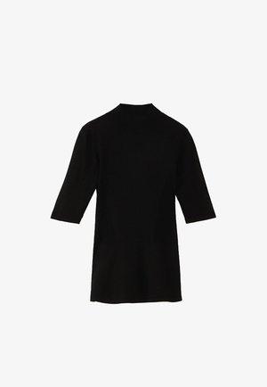 PULLOVER MIT GERIPPTEM STEHKRAGEN UND SCHÖSSCHEN 05623927 - Print T-shirt - black