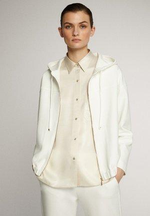 MIT KAPUZE UND REISSVERSCHLUSS  - Bluza rozpinana - white