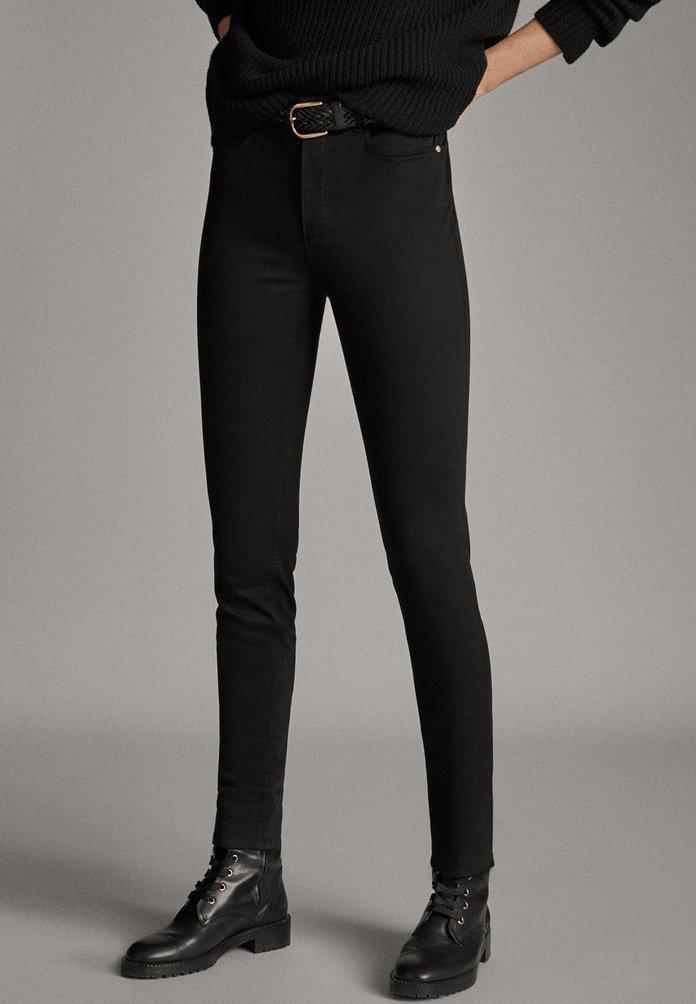 Massimo Dutti - MIT HOHEM BUND  - Pantalon classique - black