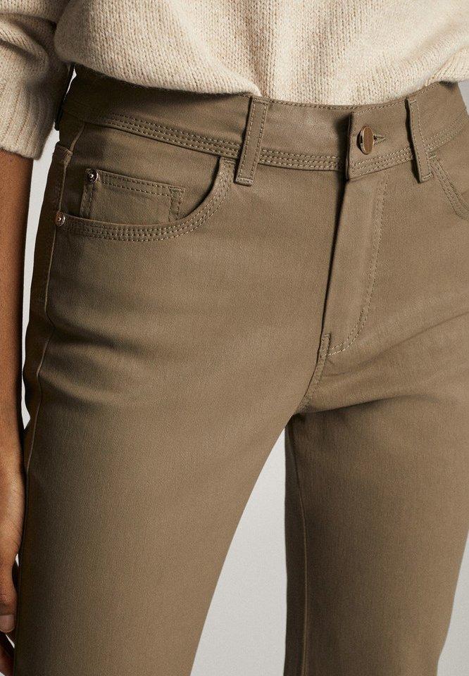 Massimo Dutti Cropped-hose Im Slim-fit Mit Gummiertem Finish Und Halbhohem Bun - Trousers Brown