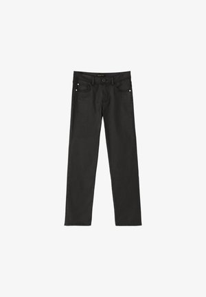 MIT GUMMIERTEM FINISH UND HALBHOHEM BUN - Pantalon classique - black