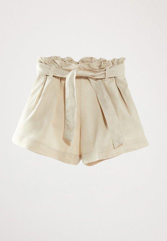 Massimo Dutti - MIT GÜRTEL  - Denim shorts - beige