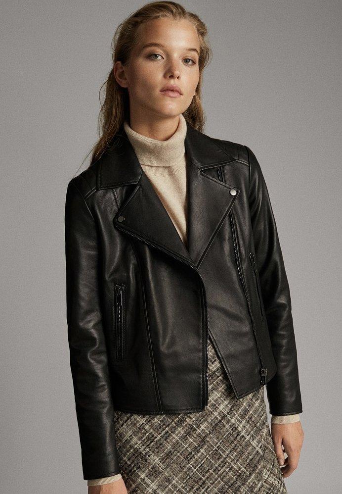 Massimo Dutti - MIT STEPPNÄHTEN - Leather jacket - black