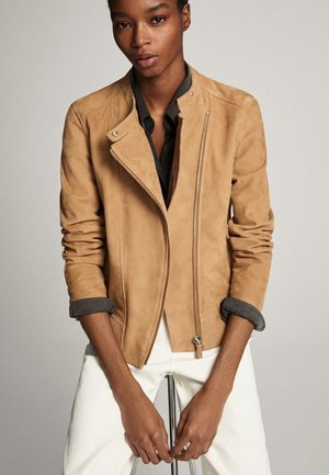 MIT REISSVERSCHLÜSSEN - Leather jacket - ochre