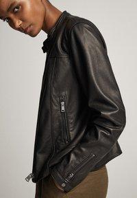 Massimo Dutti - MIT STRUKTUR - Skinnjacka - black - 13