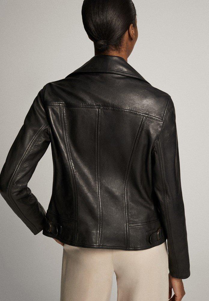 Massimo Dutti Schwarze Bikerjacke Aus Leder 04752752 - Skinnjacka Black