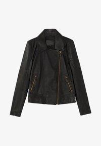 Massimo Dutti - SCHWARZE BIKERJACKE AUS LEDER 04752752 - Leren jas - black - 9