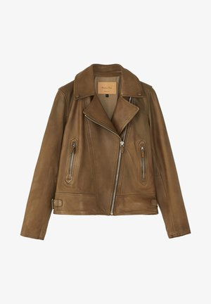 MIT STEPPNÄHTEN - Leather jacket - brown