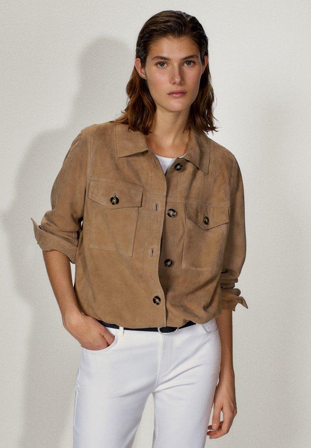 MIT TASCHEN - Leather jacket - brown