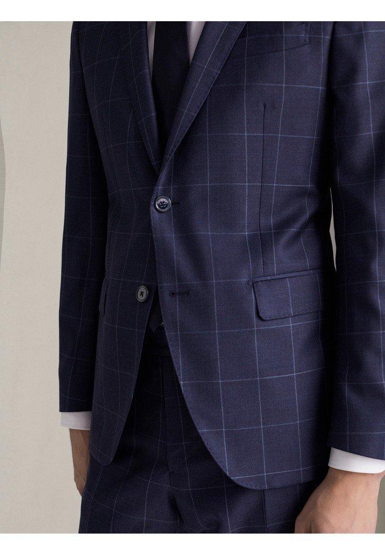 """Massimo Dutti Karierter Half-canvas-blazer Aus Wolle """"super 110"""" Im Slim-fit 0 - Kavaj Blue"""