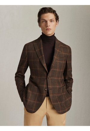 "KARIERTER SLIM-FIT-BLAZER AUS NATURWOLLE ""SUPER 130"" MIT STRETCH - Blazer jacket - brown"