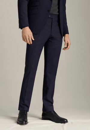 MARINEBLAUE SLIM-FIT-WOLLHOSE MIT KAROMUSTER »TRAVEL SUIT« 00074 - Suit trousers - blue-black denim