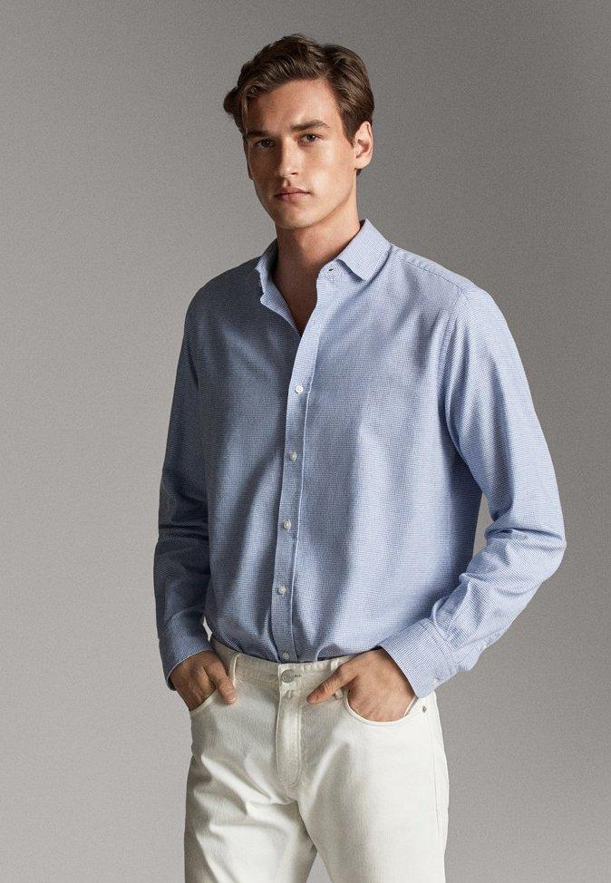 Massimo Dutti - MIT HAHNENTRITTMUSTER  - Shirt - light blue