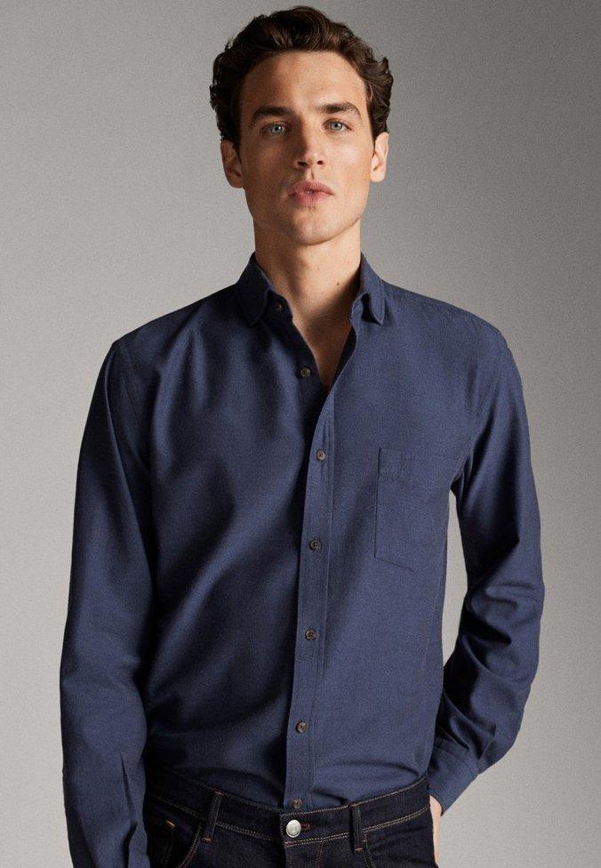 Massimo Dutti MELIERTES SLIM-FIT-HEMD AUS BAUMWOLLTWILL 00146155 - Koszula - blue-black denim