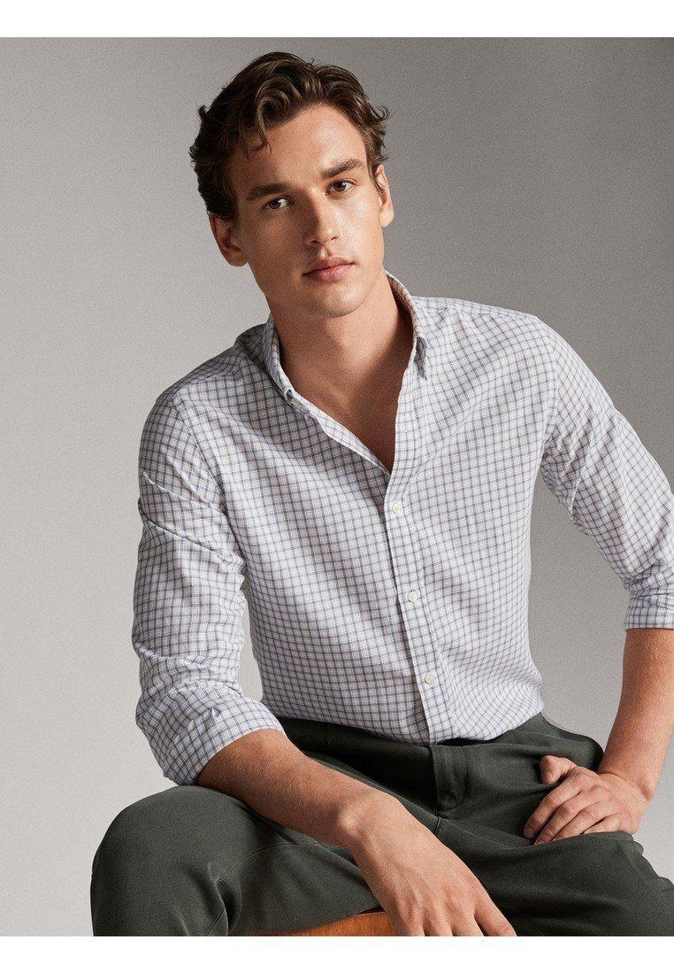 Massimo Dutti Kariertes Regular-fit-hemd Aus Baumwolle 00137150 - Skjorta White