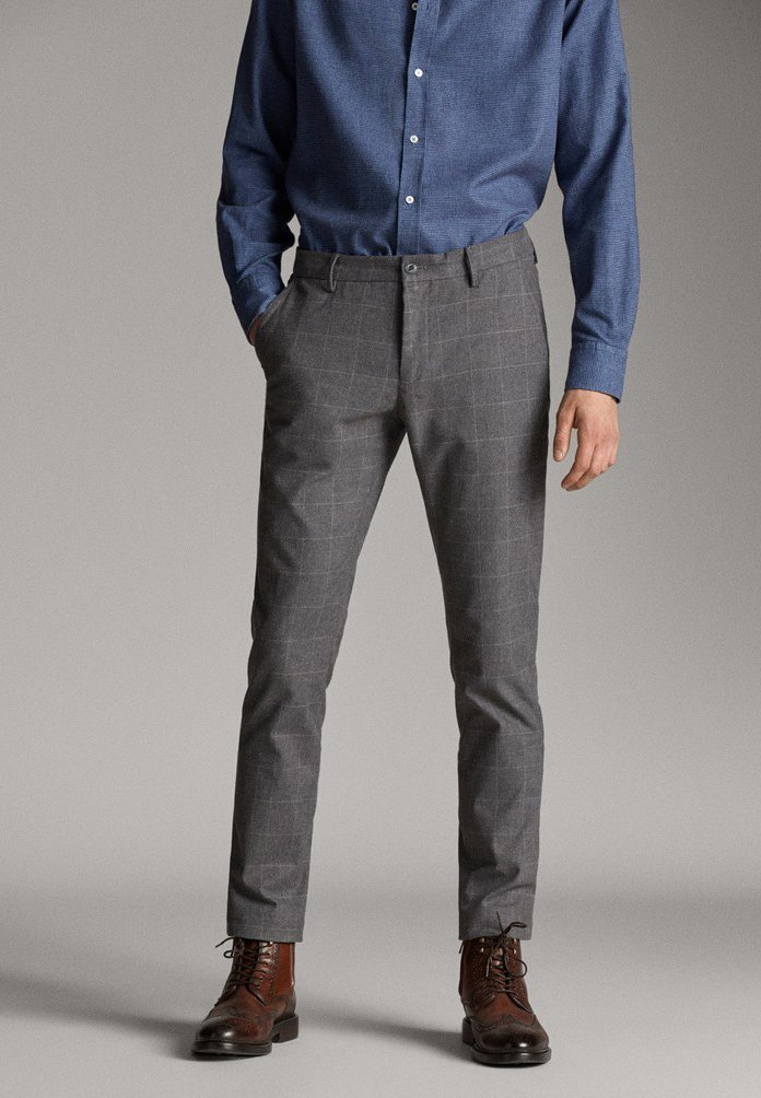 Massimo Dutti - MIT STRUKTURMUSTER - Pantalon classique - dark grey