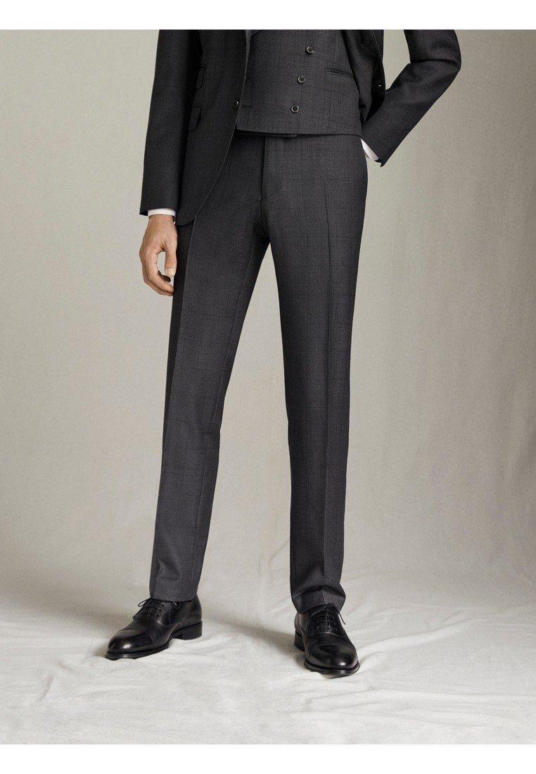 "Massimo Dutti - KARIERTE SLIM-FIT-HOSE AUS WOLLE ""SUPER 120"" 00063336 - Pantaloni eleganti - grey"
