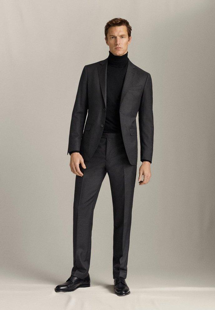 Massimo Dutti Regular-fit-hose Aus Reiner Wolle Mit Fischgrätmuster 00072308 - Kostymbyxor Grey