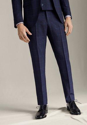 MARINEBLAUE SLIM-FIT-HOSE AUS REINER WOLLE MIT KAROMUSTER 000703 - Pantaloni - blue-black denim