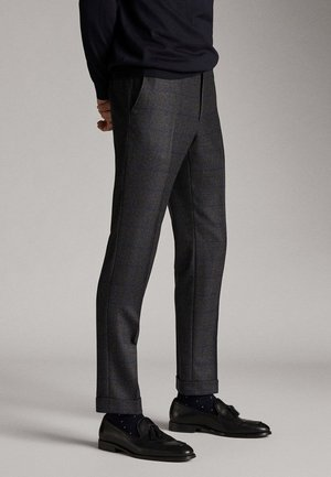 SLIM-FIT-HOSE AUS REINEM WOLLFLANELL MIT KAROMUSTER 00071316 - Trousers - grey