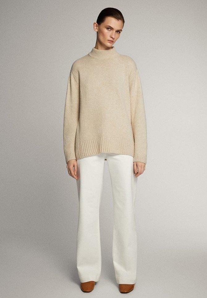 Massimo Dutti Mit Weitem Bein Und Hohem Bund - Jeans Straight Leg White