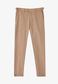 Massimo Dutti - KARIERTE SLIM-FIT-HOSE IN FALSCHEM UNI - Pantalon de costume - brown - 6