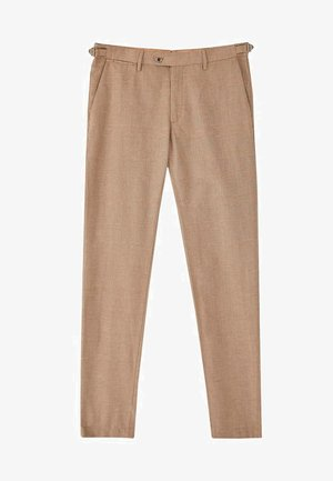 KARIERTE SLIM-FIT-HOSE IN FALSCHEM UNI - Spodnie garniturowe - brown