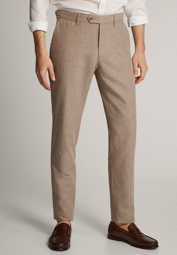 Massimo Dutti - KARIERTE SLIM-FIT-HOSE IN FALSCHEM UNI - Pantalon de costume - brown