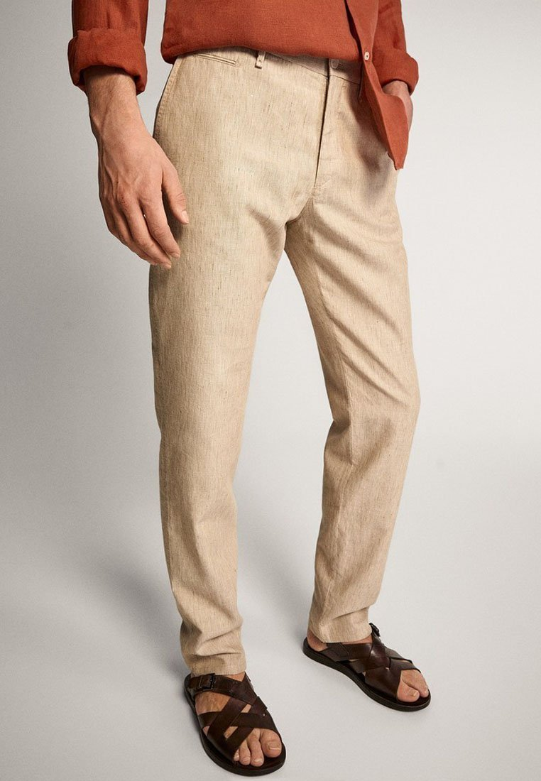 Massimo Dutti - SLIM-FIT - Spodnie materiałowe - beige