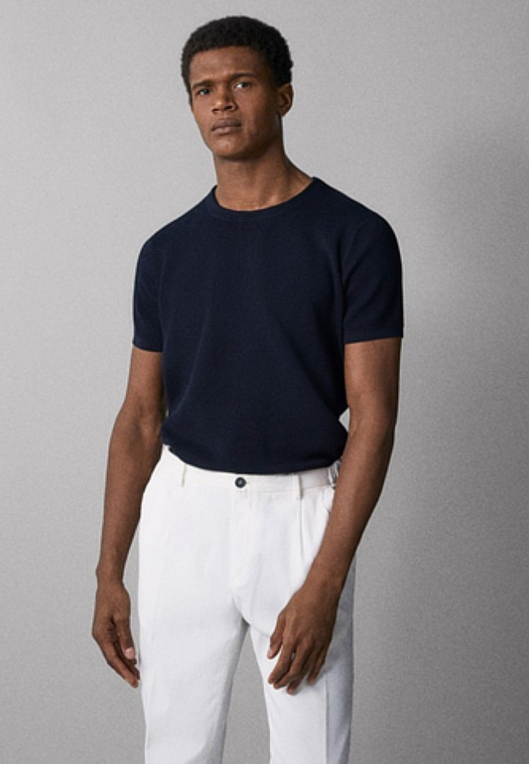 Massimo Dutti - MIT STRUKTURMUSTER - Basic T-shirt - dark blue