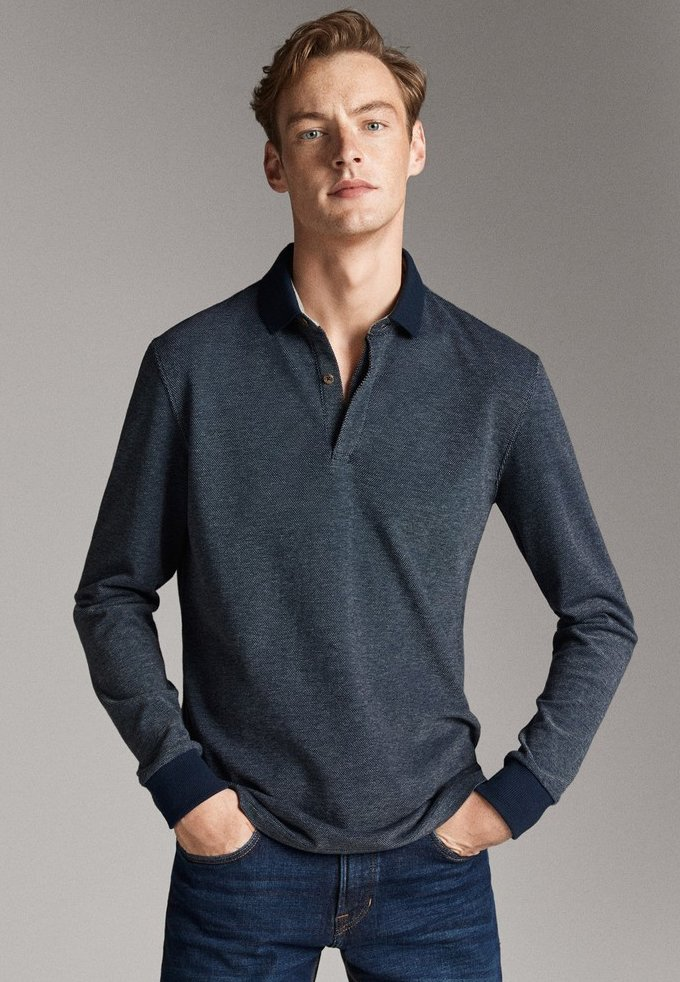 Massimo Dutti - MIT STRUKTURMUSTER  - Polo shirt - blue