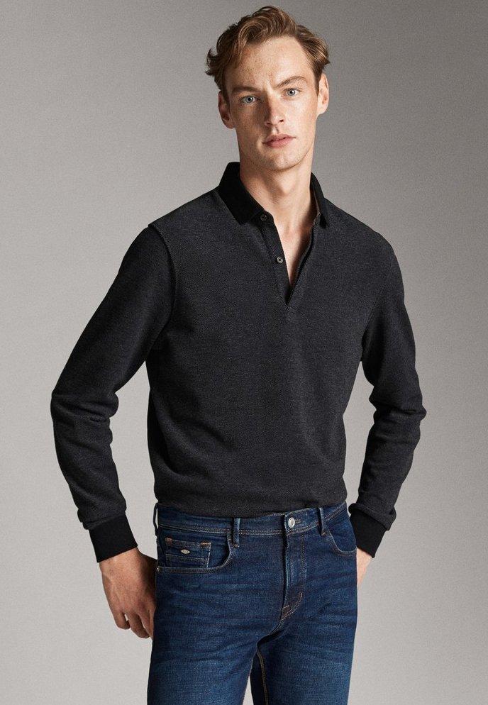 Massimo Dutti - MIT STRUKTURMUSTER  - Polo shirt - black