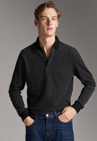 Massimo Dutti - MIT STRUKTURMUSTER  - Polo shirt - black - 5