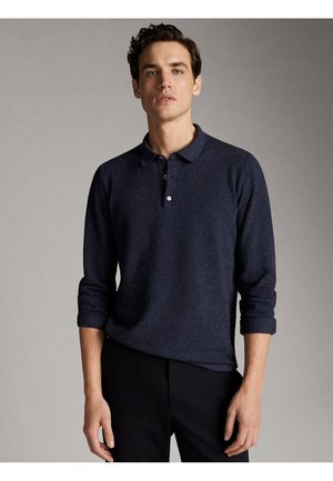 COTTON/SILK/CASHMERE POLO SWEATER 00906440 - Koszulka polo - blue