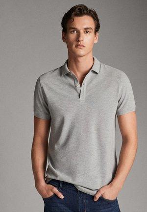 MELIERTES POLOSHIRT AUS BAUMWOLLE - Polo shirt - light grey