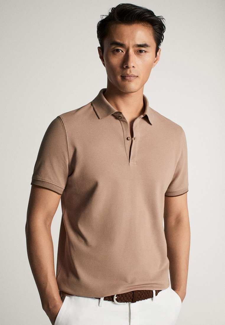 Massimo Dutti - MIT DOPPELKRAGEN - Polo shirt - light grey
