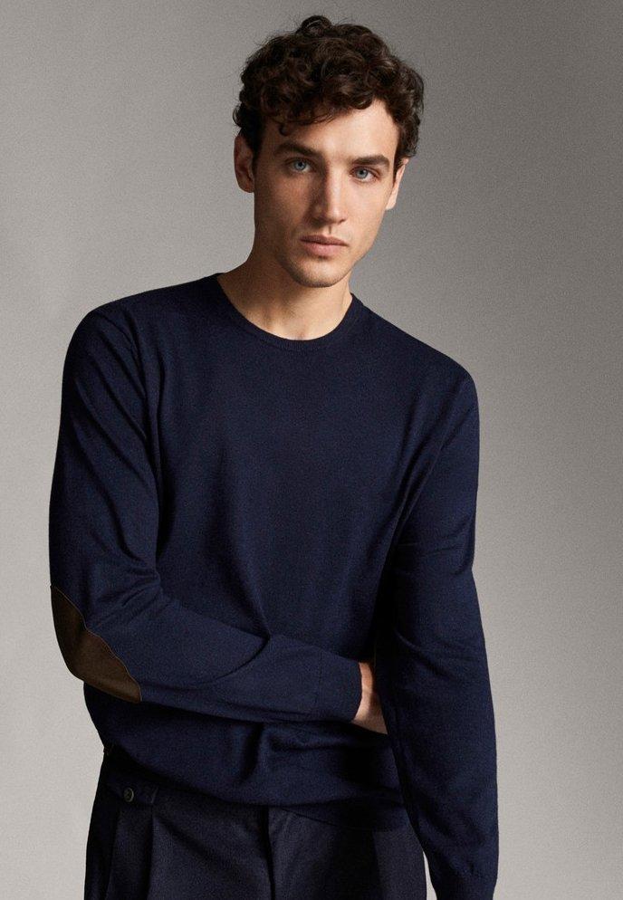 Massimo Dutti - MIT ELLBOGENSCHONERN - Sweatshirt - dark blue